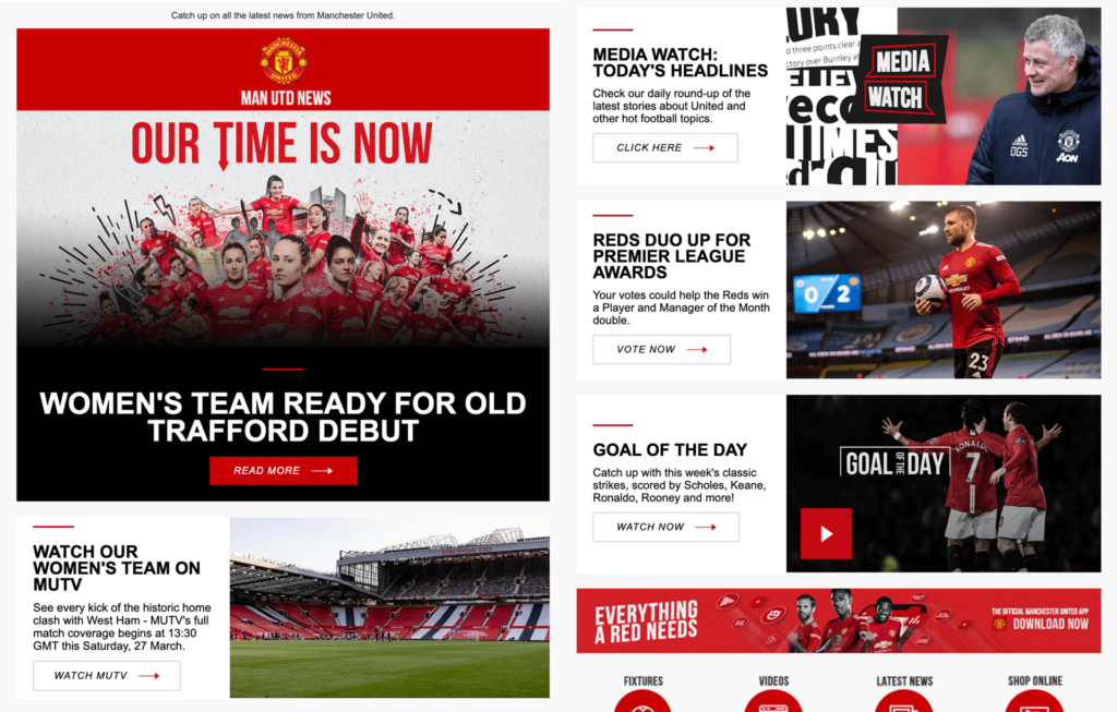 Manchester United keep their fans informed about the latest happenings in the club through their newsletters