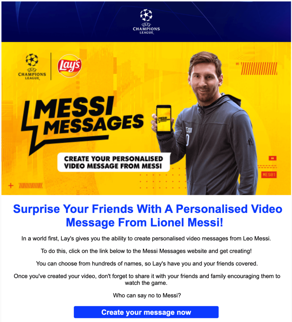 UEFA & Lays campaign with Messi in the spotlight